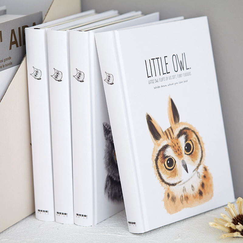 Little Owl Big Hard Cover Study Diary Cute Journal Beautiful Notebook Blank Papers Notepad