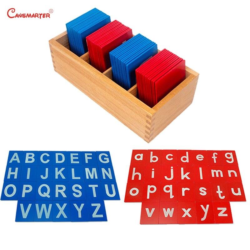 Lettres rouges bleues Alphabet Montessori jeu de mathématiques jouets en bois sûr enfants langue apprentissage jouet LA008-36 éducatif