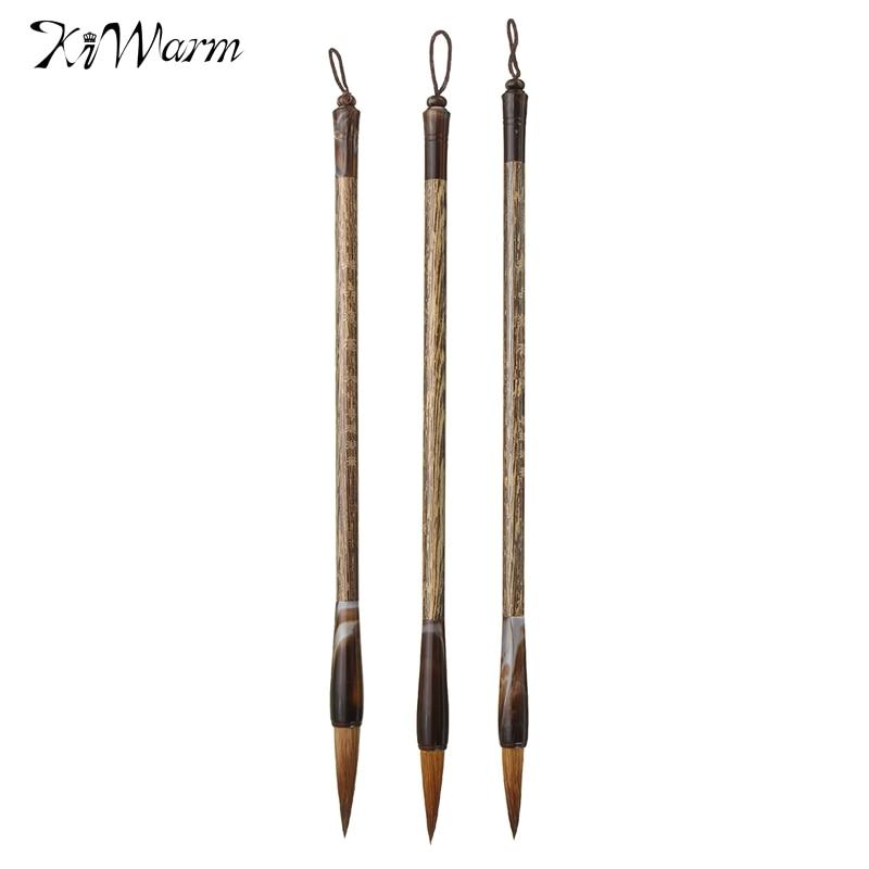 Kiwarm 3pcs chinese writing pen calligraphy brush set wolf Drawing with calligraphy pens