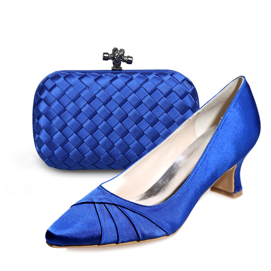 Creativesugar Elegant royal blue low heel woman satin dress shoes with matching clutch purse knitted party cocktail prom outfit