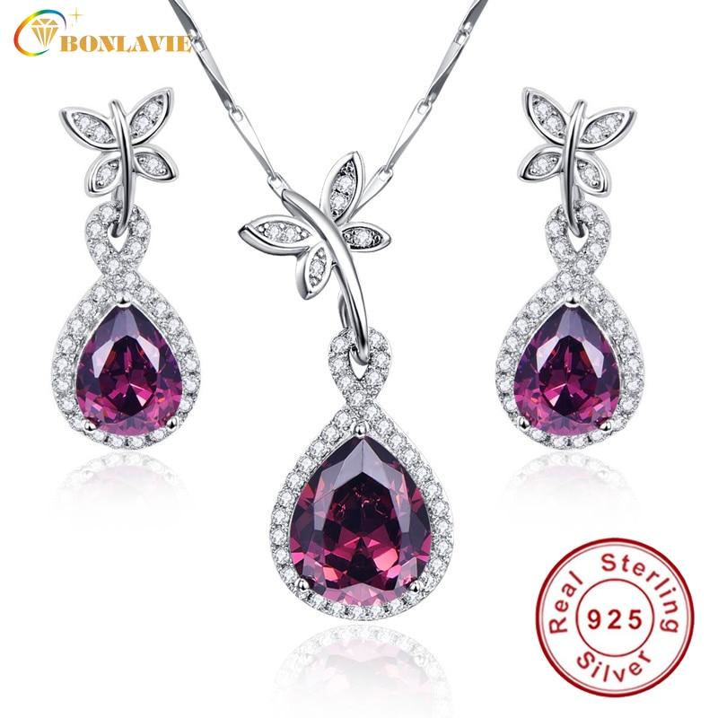 BONLAVIE Water Drop 925 Sterling Silver Spessartine Garnet Jewelry Sets Earrings Pendant Necklace For Women With