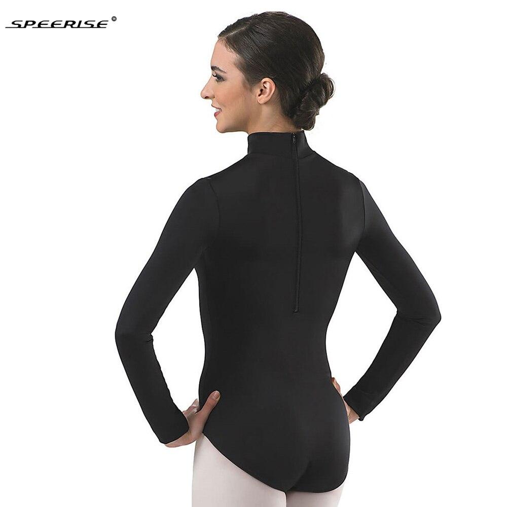 Для женщин с длинным рукавом черный купальник водолазка балетные костюмы танцевальная одежда лайкра Купальники из спандекса боди костюмы для гимнастики Unitard