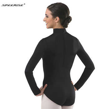 Women Long Sleeve Black Leotard Turtleneck Ballet Dancewear Spandex Leotards Bodysuit Gymnastics Costumes Unitard