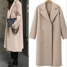 New Wool Coat Autumn Winter Women Long Sleeve Blends Coats Woolen Overcoat