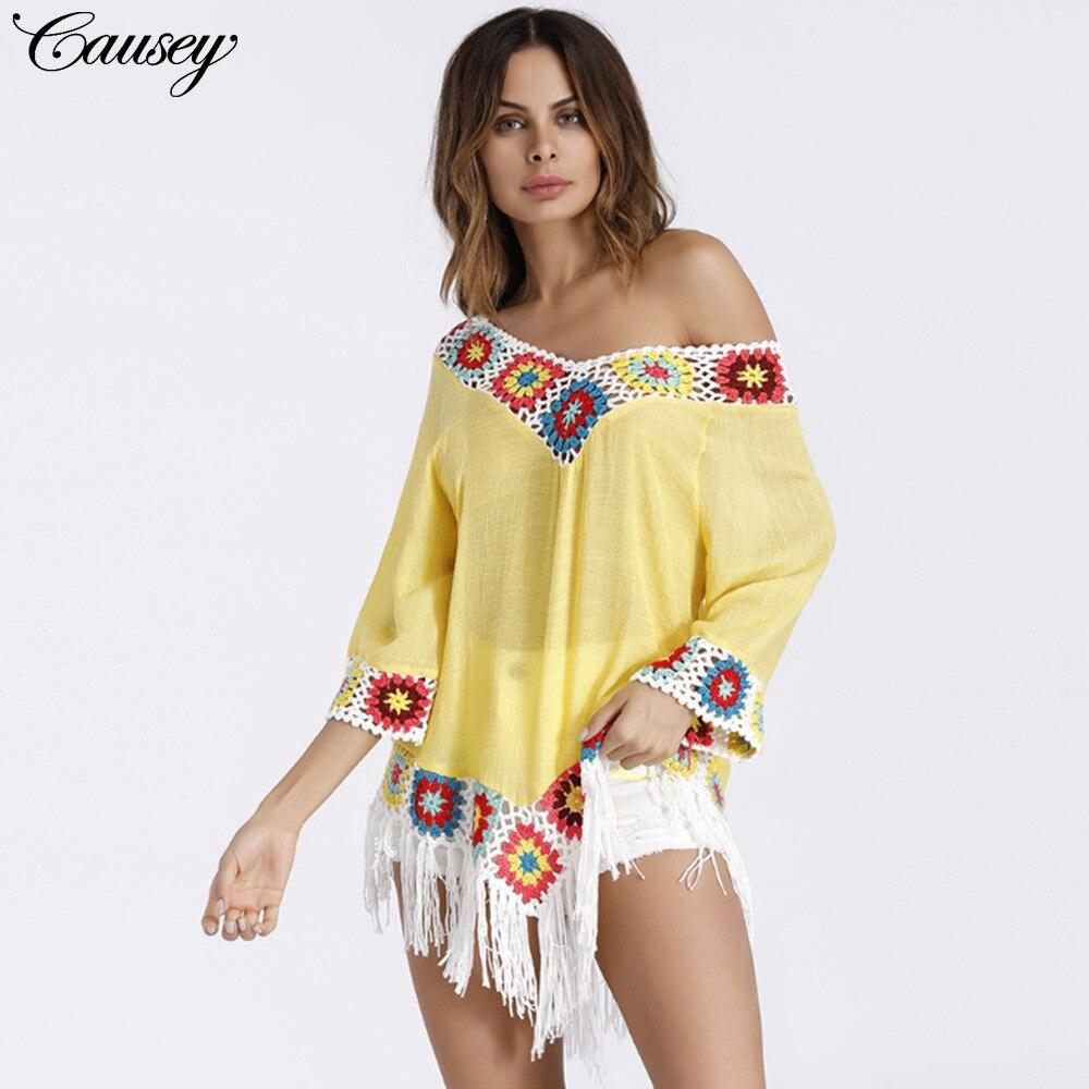 Bathing Suit Cover Ups Beachwear For Women Robe De Plage Beach Sarong Womans Wear Sarongs 2018 Bohemia Slub Cotton Blouses