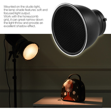 7″ Standard Reflector Diffuser Lamp Shade Dish with 10/20/30/60 degree Honeycomb Grid for Bowens Mount Studio Flash Speedlite