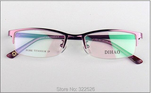 Оптовая Высокое качество Мода Женщин половина обод Pure Titanium Eyeglasses frame, взрослый Средний размер