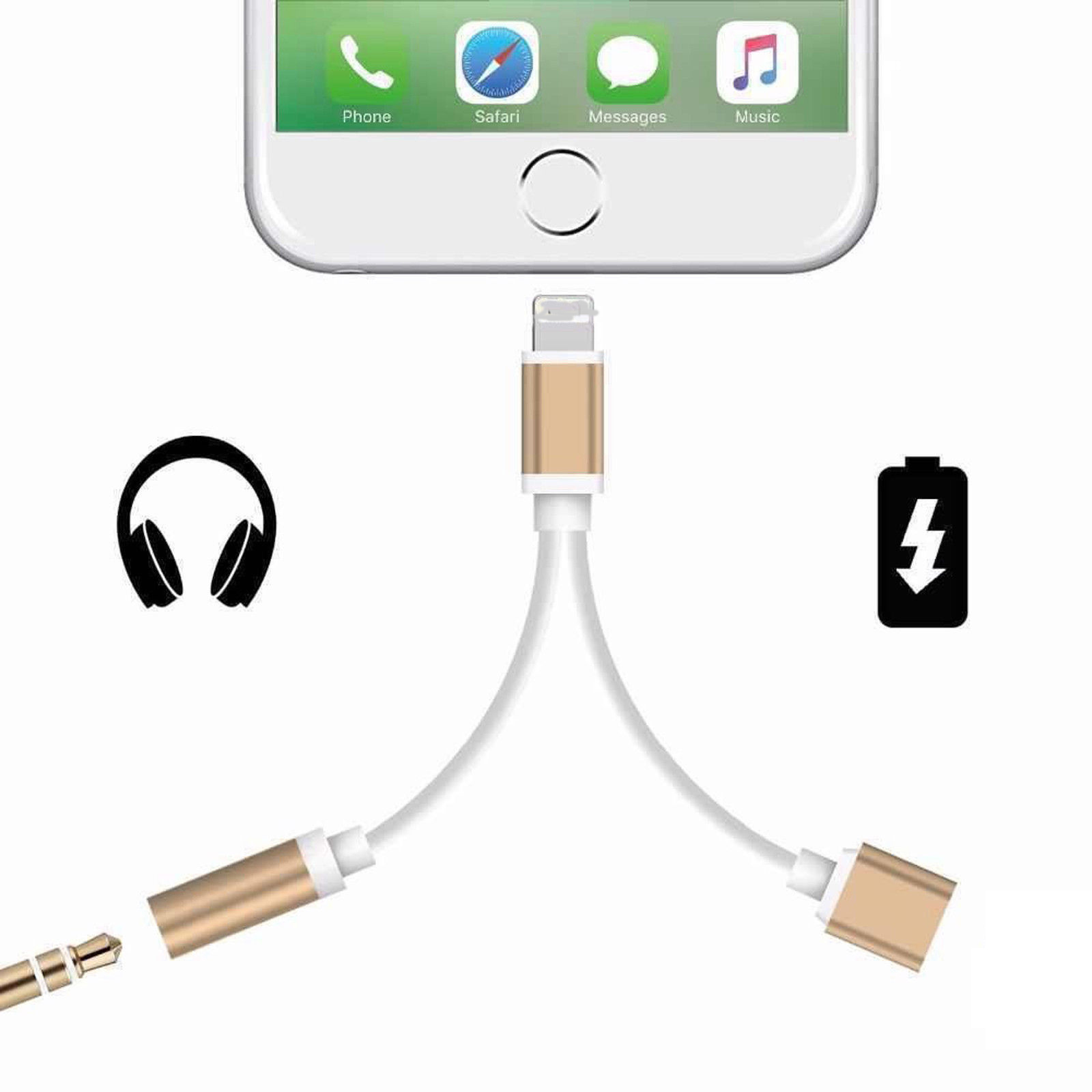 2 In1 Earphone Charger Splitter Adapter For IPhone 7 8 Plus Dual 3.5 Jack Headphone Charging Cable Converter For Iphone7