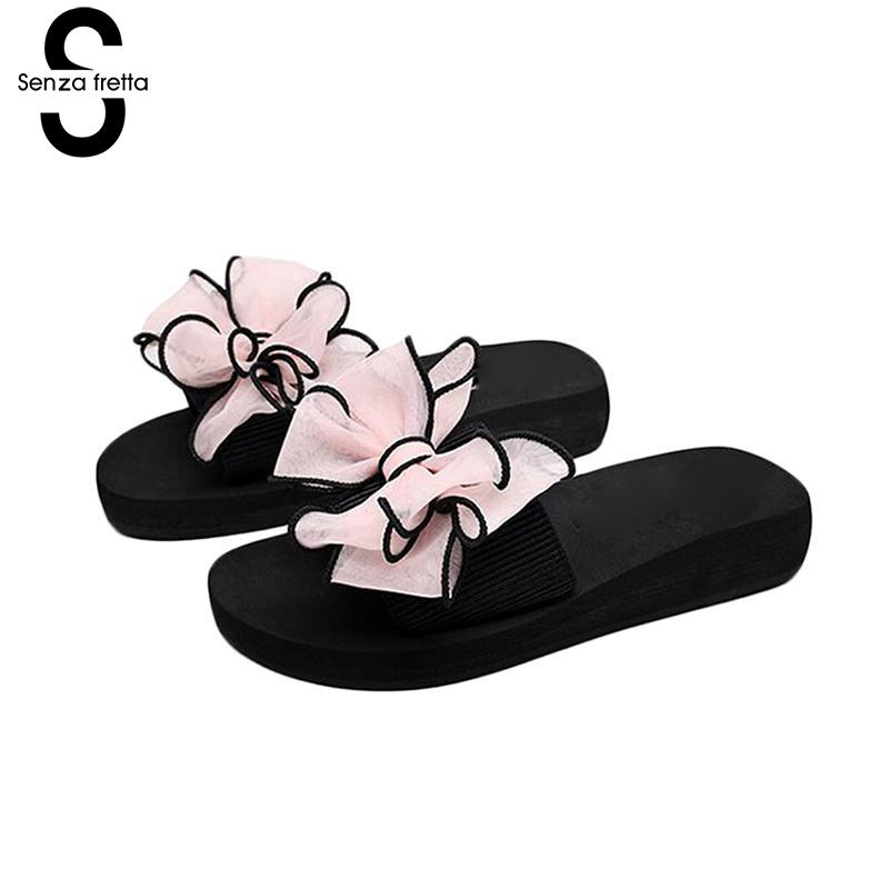 Senza Fretta Women Shoes Butterfly Knot Slippers Summer Soft Slippers Casual Low-heel Wedges Slippers Anti-skid Wearable Shoes new women sandals low heel wedges summer casual single shoes woman sandal fashion soft sandals free shipping