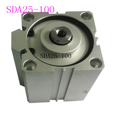 цены SDA25 Cylinder Compact SDA Series Bore 25mm Stroke 5-100mm Compact Air Cylinders Dual Action Air Pneumatic Cylinders