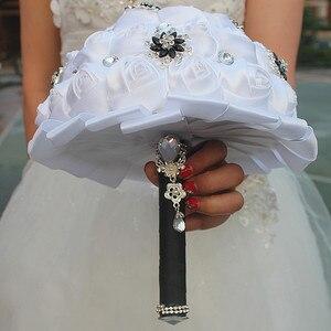 Image 2 - WifeLai A чистый белый цветок розы черный цвет Искусственный цветок свадебные букеты с кристаллами цветы на заказ