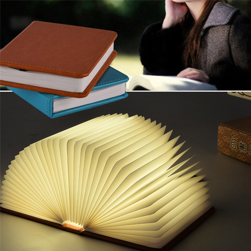 2018 Novelty 5 colorful change Led Book Light USB Rechargeable LED Foldable Wooden Book Shape Desk Lamp Nightlight table lamp