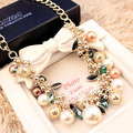 Created diamond luxury colorful simulated pearl statement necklace female clavicle chain Gilded jewelry girlfriend birthday gift
