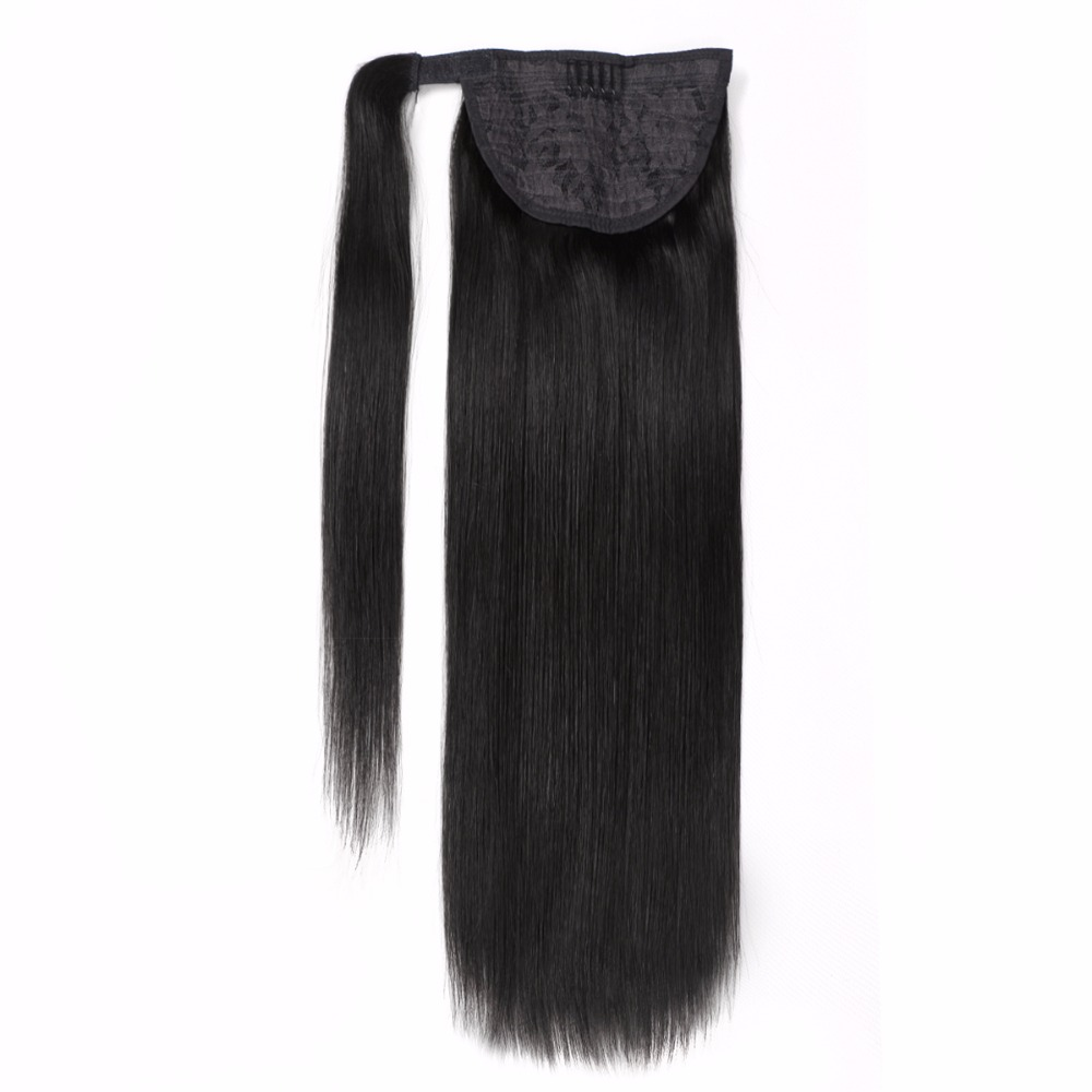 ALI BEAUTY 100g 120g Human Hair Ponytails Clip In Hair Extensions Remy Brazilian Straight Natural Hair 24