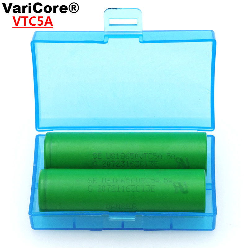 2PCS/lot VariCore VTC5A 2600mAh 18650 Lithium Battery 30A Discharge for Sony US18650VTC5A Electronic Cigarette ues +Storage Box