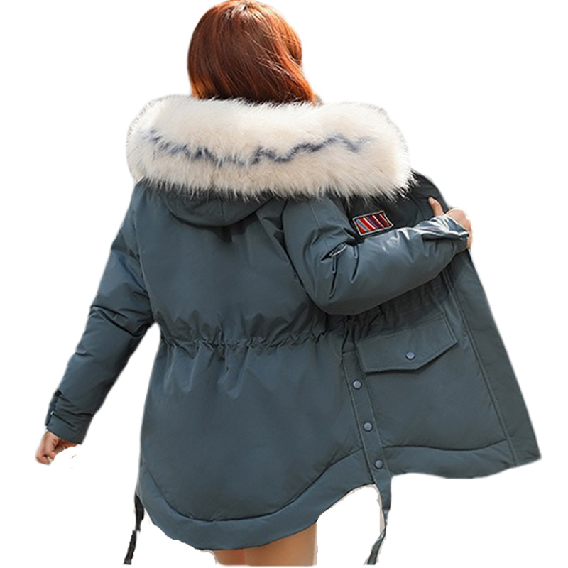 2019 new large-collar mid-long waist-slim   parka   down jacket and thicker cotton jacket for women   parka   in winter big 1918