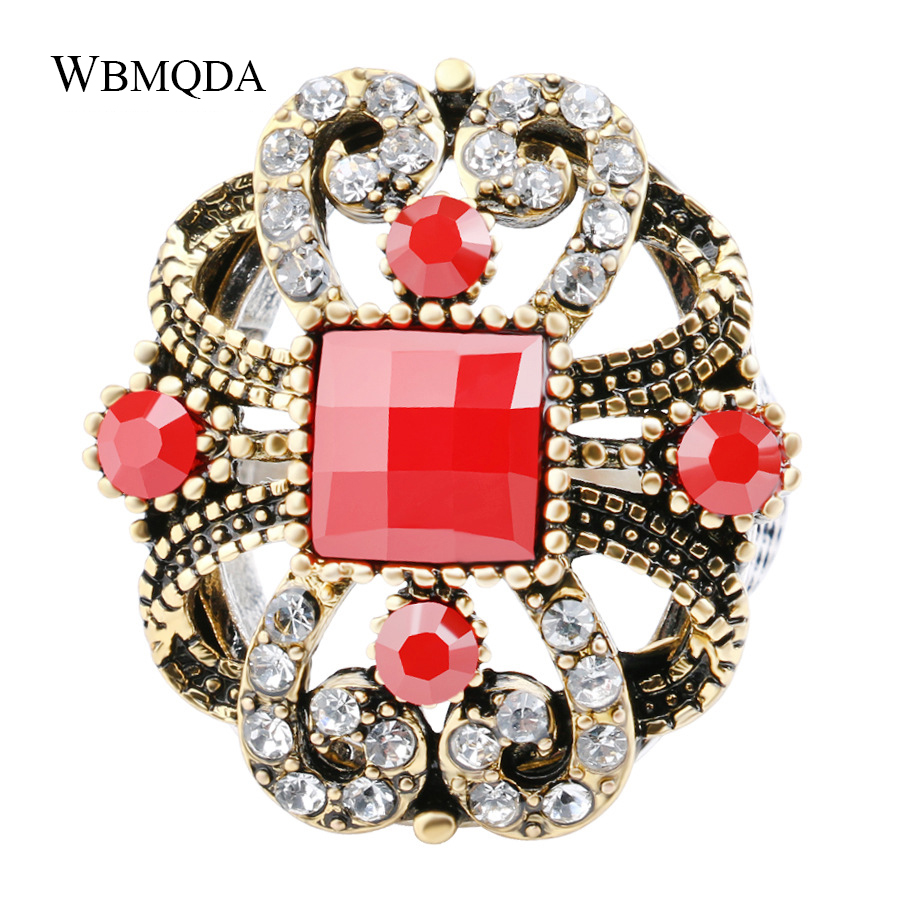 5 Colors Big Hollow Bowknot Pattern Ring Crystal Antique Gold Silver Statement Rings For Women Vintage Turkish Jewelry