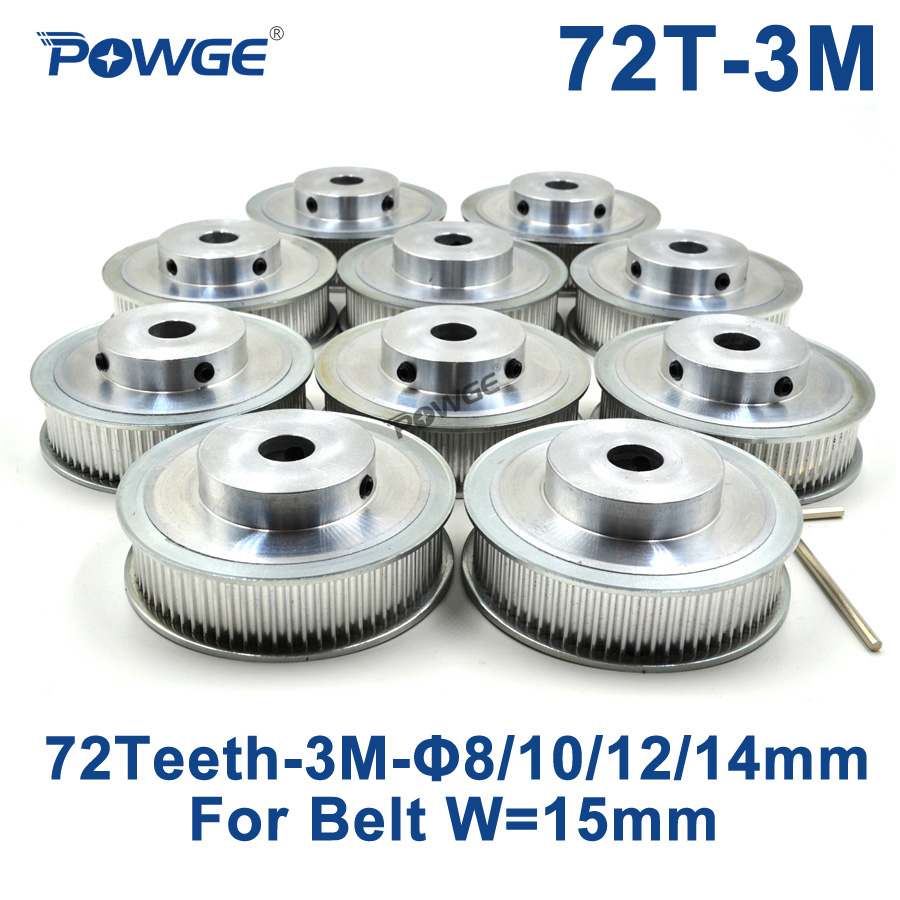 POWGE 10pcs 72 Teeth HTD 3M Timing Pulley Bore 8mm 10mm 12mm 14mm for Width 15mm 3M Synchronous belt pulley HTD3M 72Teeth 72T lupulley 1pc wheel timing pulley htd 5m 40t teeth 21mm width 6mm 8mm 10mm 12mm 14mm 15mm bore pulley for belt drive synchronous