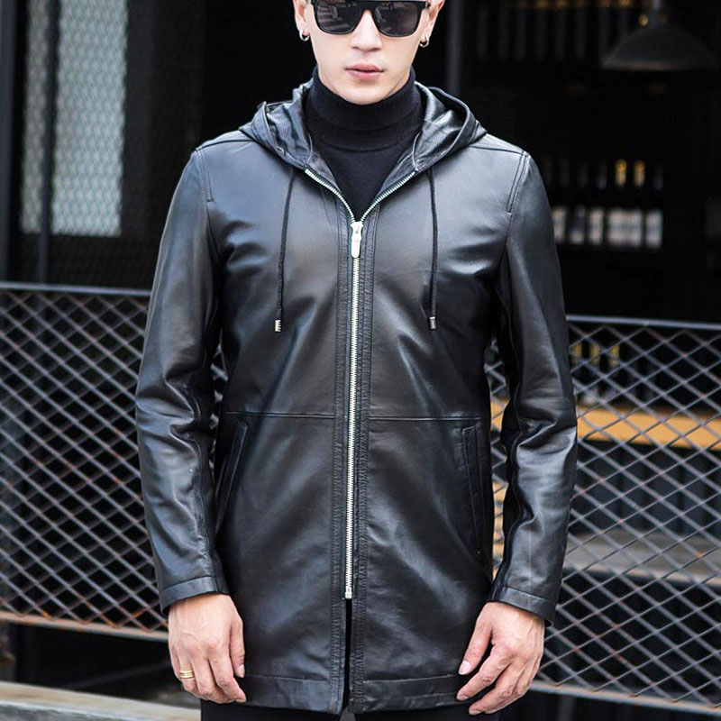 2019 New Arrival Mens Hooded Long Sheep Skin Genuine Leather Jackets Jaqueta De Couro Motorcycle Blouson Cuir Homme Male Coat