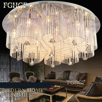 new design RGB LED crystal chandelier light dinning room crystal chandelier lamp lighting with remote control Flush Mounted