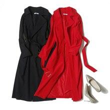 Veydu элегантный Для женщин v-образным вырезом поясом с длинным рукавом Повседневное свободно Открыть стежка длинный плащ леди Винтаж пальто Femme Весенняя верхняя одежда