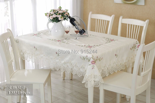 Cream White Cotton Satain Table Cloth Lace Embroidery Square Table Cover  Roundtable Tablecloth Dining Table Runner