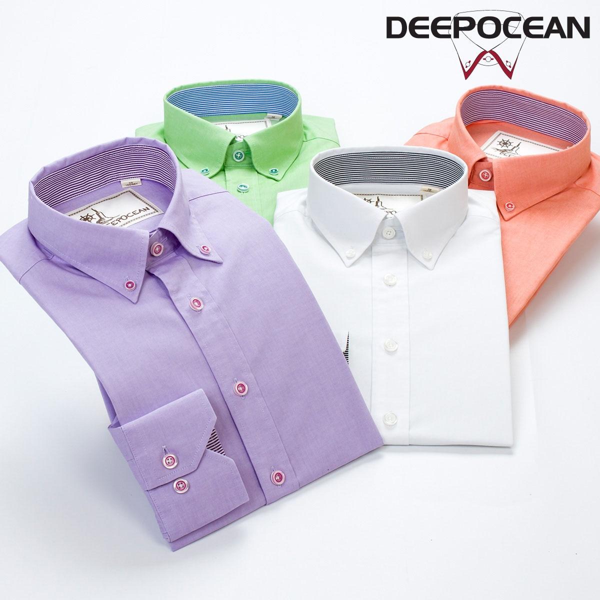 DEEPOCEAN 2016 Autumn new Men casual long sleeve shirt 100 cotton Solid color font b men