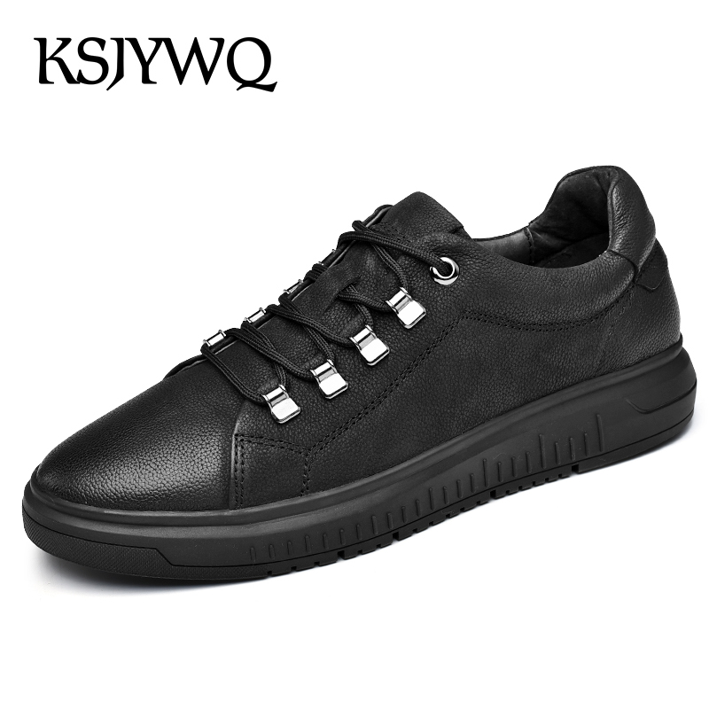 KSJYWQ Genuine Leather Men's Loafers Summer Style Dress Shoes Flat Heels Lace-up Casual Shoes Men Flats Box Packing nls-b0818 classic style classic mens dress shoes deep coffee color genuine leather oxford shoes for men lace up pointy loafers high heels
