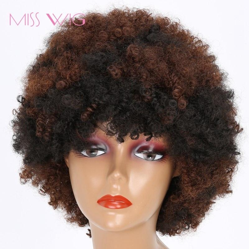 seorita peluca negro mezclado marrn rizado peluca pelucas cortas para las mujeres negras afro peluca peinado