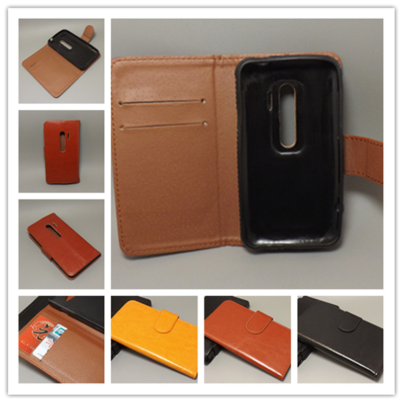 Crazy horse wallet case hold two Cards with 2 Card Holder and pouch slot For HTC EVO 3D G17