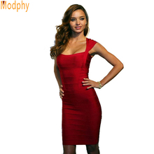 Cap Sleeve Rayon Spandex Stretch Bodycon Sexy Women Dress Bandage Dresses Red Black Blue Drop Shipping HL2530