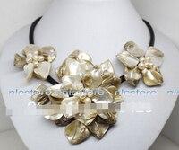 18 inches witte mop shell parel bloem hanger ketting Mode-sieraden