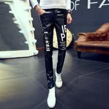 2017 males printed leather-based pants Leisure skin-tight individuality tide youth ft pants