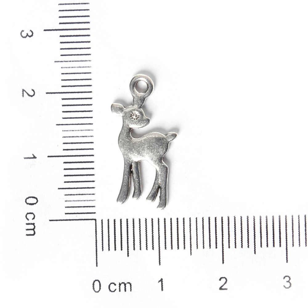 プロモーション11*21ミリメートル16ピース合金子鹿チャームアンティークシルバーメッキチャームペンダントジュエリー所見のためのファッションブレスレットネックレス