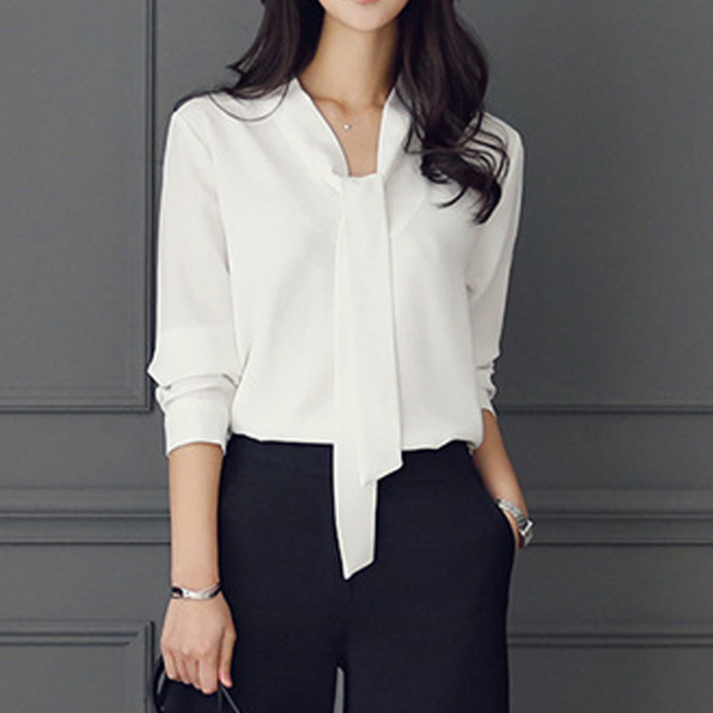 Zebery Tie Collar Simple Business Style Blouse Shirt Long Sleeve Woman High Quality Shirt Microfiber Tops Office Clothes Woman