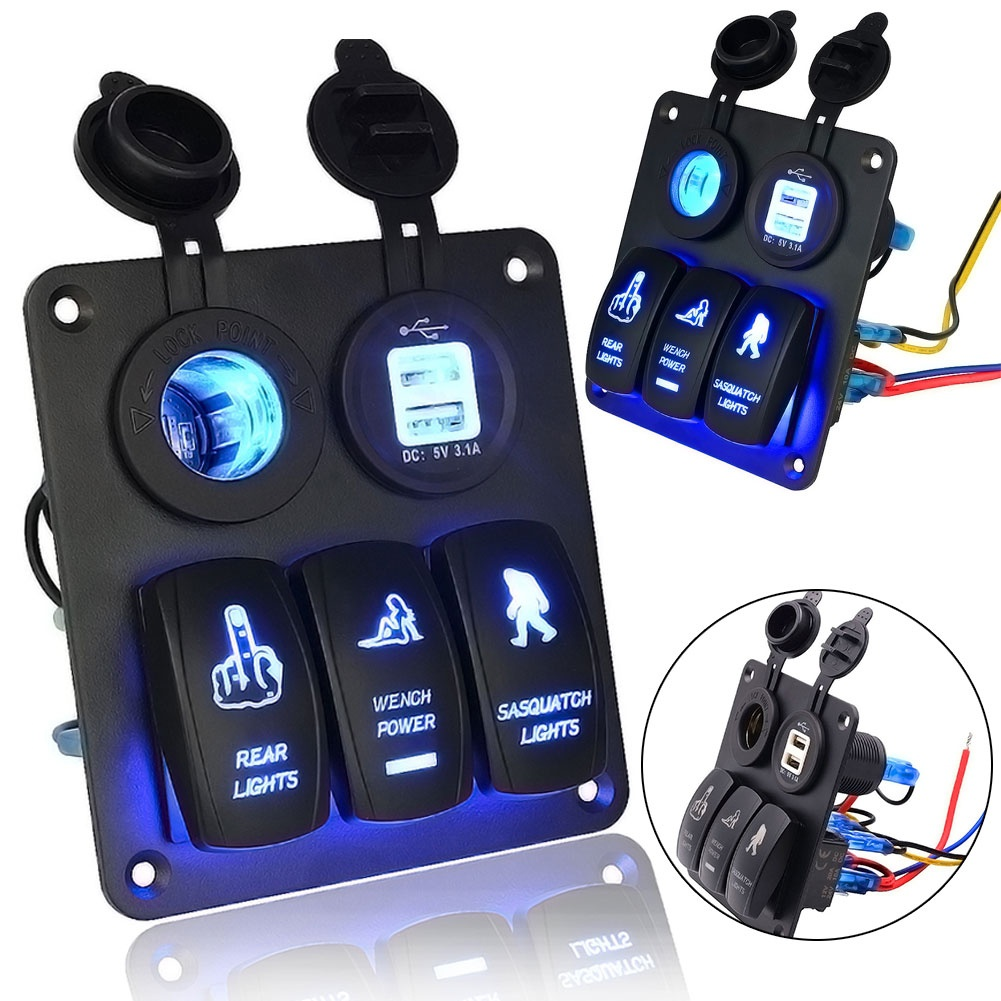 DHL 5 PCS 12V24V 3 Gang Switch Panel Circuit Blue Led Rocker Breaker Car Boat Marine