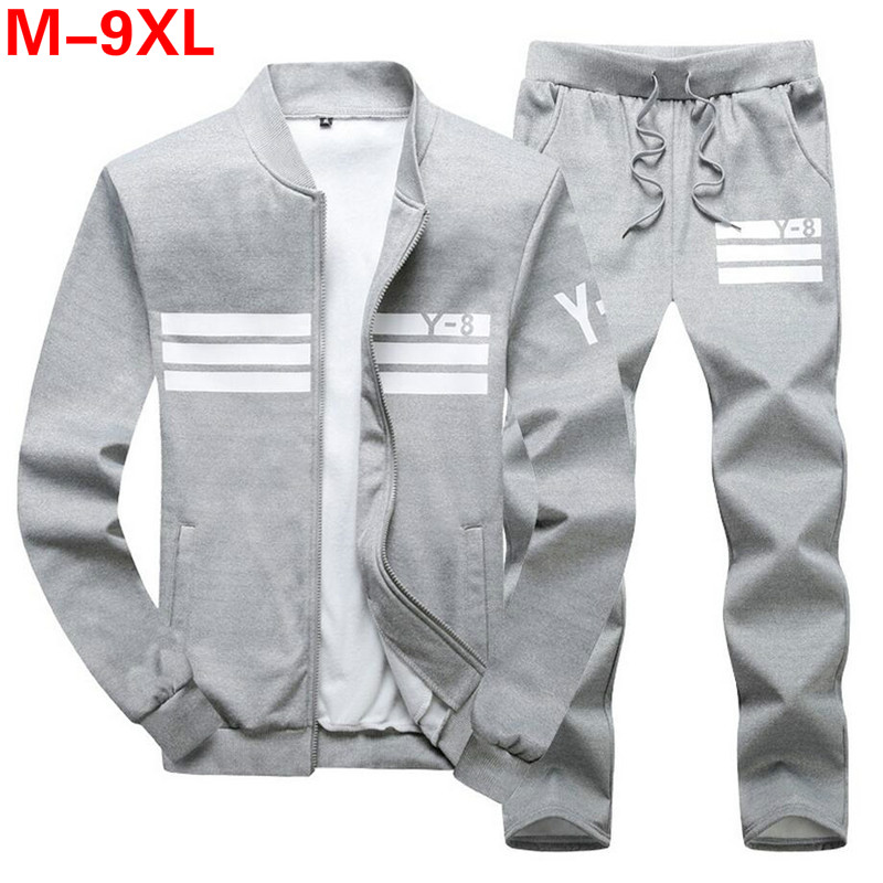 Plus Size 9XL 8XL Men's Sporting Suit Male Tracksuit Men Spring Autumn Casual Sportswear Big Size 2PC Jacket+Pants Clothing Sets