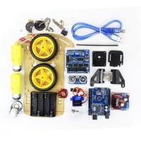 Free Shipping Tracking Motor Smart Robot Car Chassis Kit Speed Encoder Battery Box 2WD Ultrasonic Module