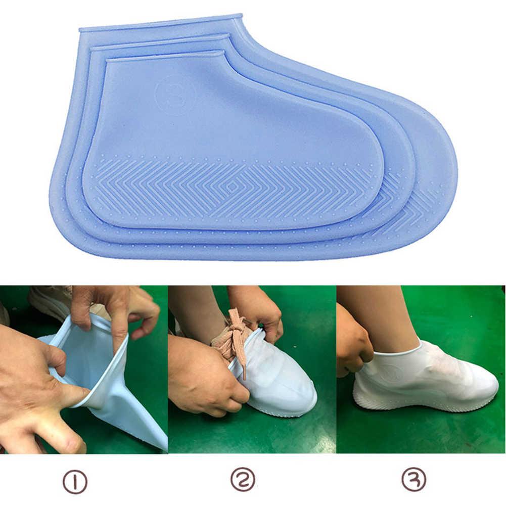 2019 ใหม่ Reusable Non-Slip รองเท้ากันน้ำซิลิโคนรองเท้ากลางแจ้งฝน Overshoes S/M/L รองเท้าอุปกรณ์เสริม