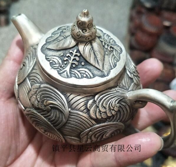 Antiques Miscellaneous Bronzes Collection Of Pure Copper Ornaments White Copper Silver Plated Brass Teapots Multi Styles
