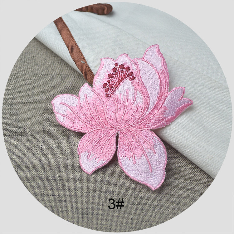 1piece Ethnic Style Lotus Embroidery Patches For Clothing Iron