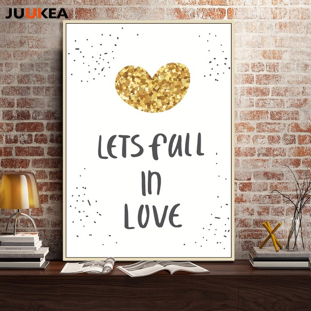 Love Quote Canvas Captivating Nordic Minimalist Art Letter Let's Fall In Love Quote Canvas Art