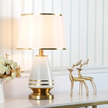 Europe Noble Creative Table Lamps Cloth Cover Ceramic Iron Soft Light for Bedroom Living Room Study