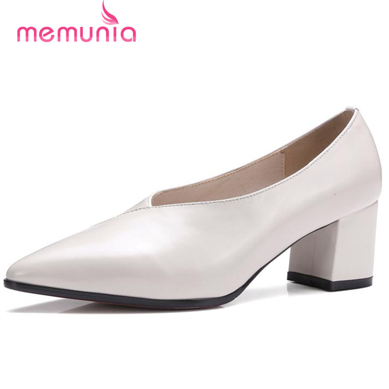 ФОТО MEMUNIA Work shoes office lady genuine leather high heels shoes pointed toe solid women pumps contracted sexy single