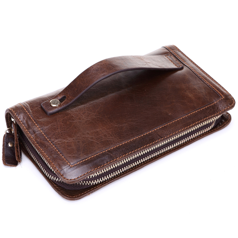 High Quality Man Clutch Genuine Leather Male Handbag Double Zipper Men's Handy Bag Coffee Long Wallet Vintage Purses J50 2017 new brand mens wallet double zipper genuine leather bag vintage solid clutch bag phone cases male coins purses wallet