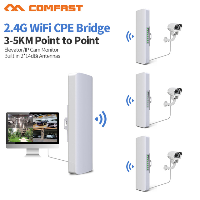 US $212 89 |3KM Long Range Outdoor CPE WIFI Router 2 4G 300Mbps Wireless AP  WIFI Repeater Access Point WIFI Extender Bridge Signal Amplifer -in