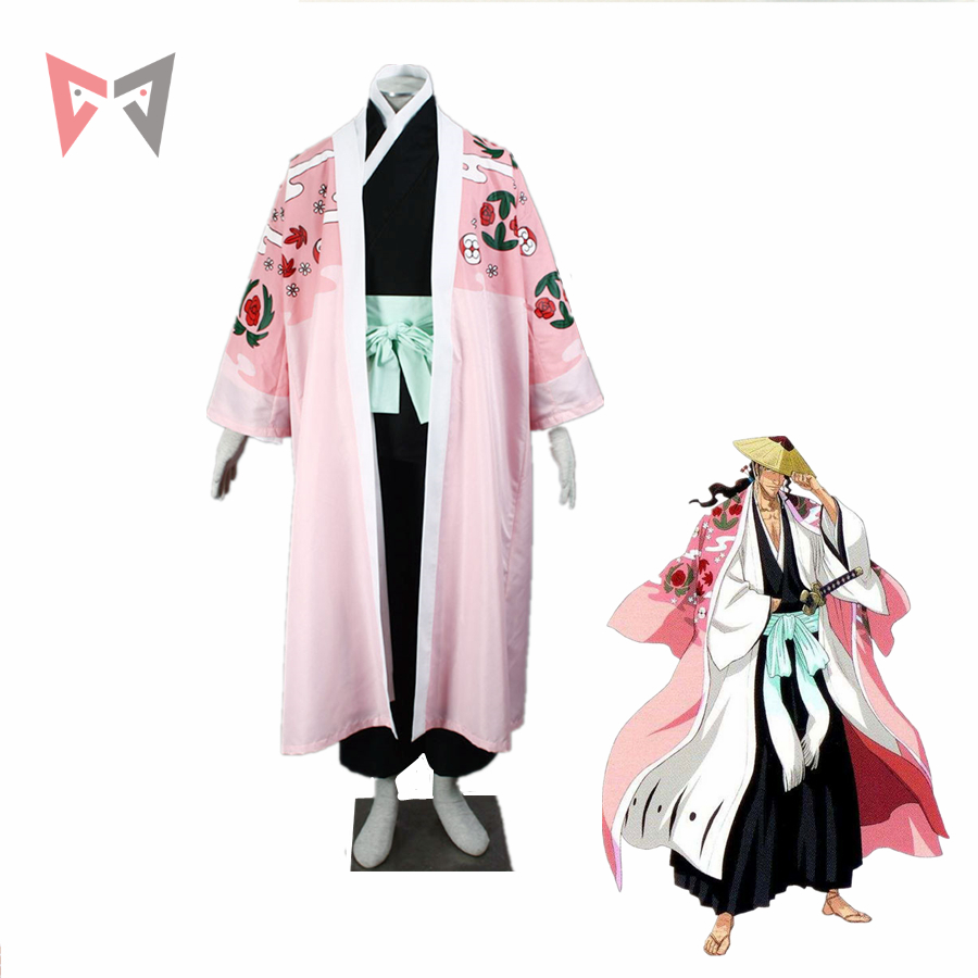 MMGG Bleach cosplay Kyoraku Shunsui Cosplay costume Custom Made Unique Printing Robe Outfit Kimono