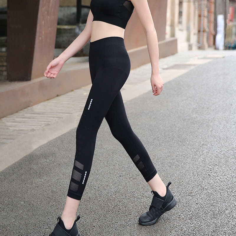 Professional quick-drying fitness cropped pants mesh breathable reflective sports waist elastic pressure compression female