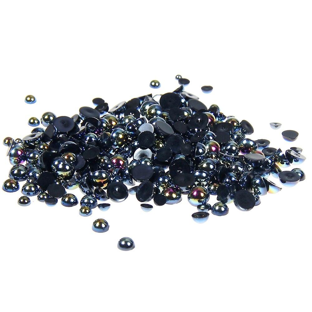 где купить 1.5-10mm Black AB Resin Half Round Craft ABS Imitation Pearls Scrapbook Beads For 3D Nails Art Backpack DIY Design Decorations по лучшей цене