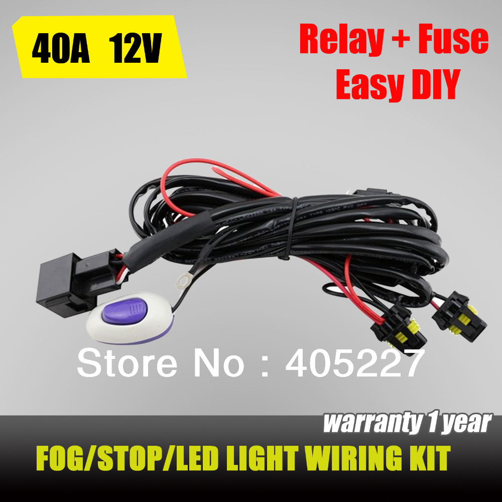 12v 40a Led Work Fog Light Bar Wiring Harness Kit Onoff Hid Driving Switch Relay Ebay Universal Loom Offroad Fuse 12v40a Diy Wire 24 Diagram Images Diagrams